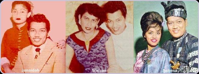 P. Ramlee bersama isteri-isterinya: Junaidah, Norizan dan Saloma