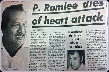 P. Ramlee dies of heart attack (P. Ramlee meninggal akibat serangan jantung)